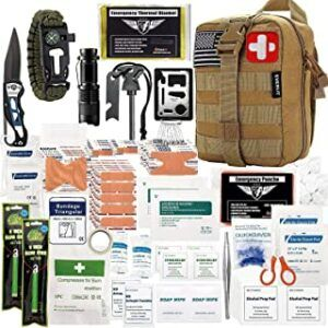 EVERLIT 250 Pieces Survival First Aid Kit IFAK Molle System Compatible Outdoor Gear Emergency Kits